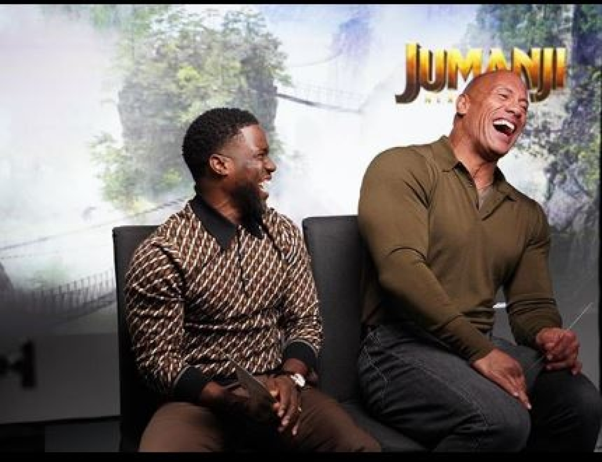 Kevin Hart (L) with (R) Dwayne Johnson