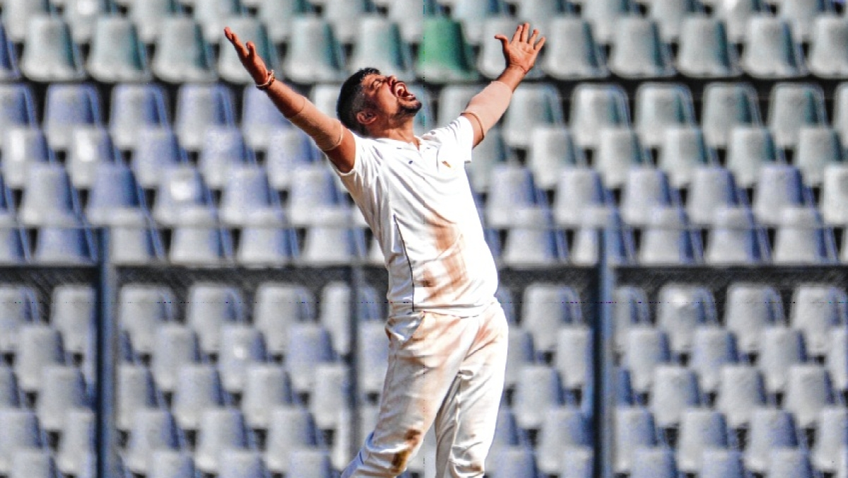 Railways captain Karn Sharma reacts during the Ranji Trophy match against Mumbai at Wankhede Stadium on Friday.