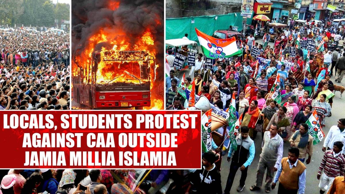 Locals, students protest against CAA outside Jamia Millia Islamia