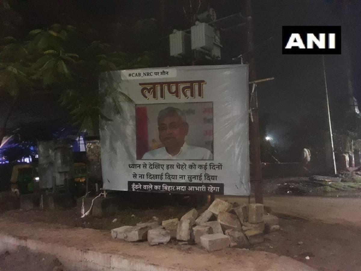 Posters mocking Nitish Kumar's 'silence' over CAA, NRC put up across Patna