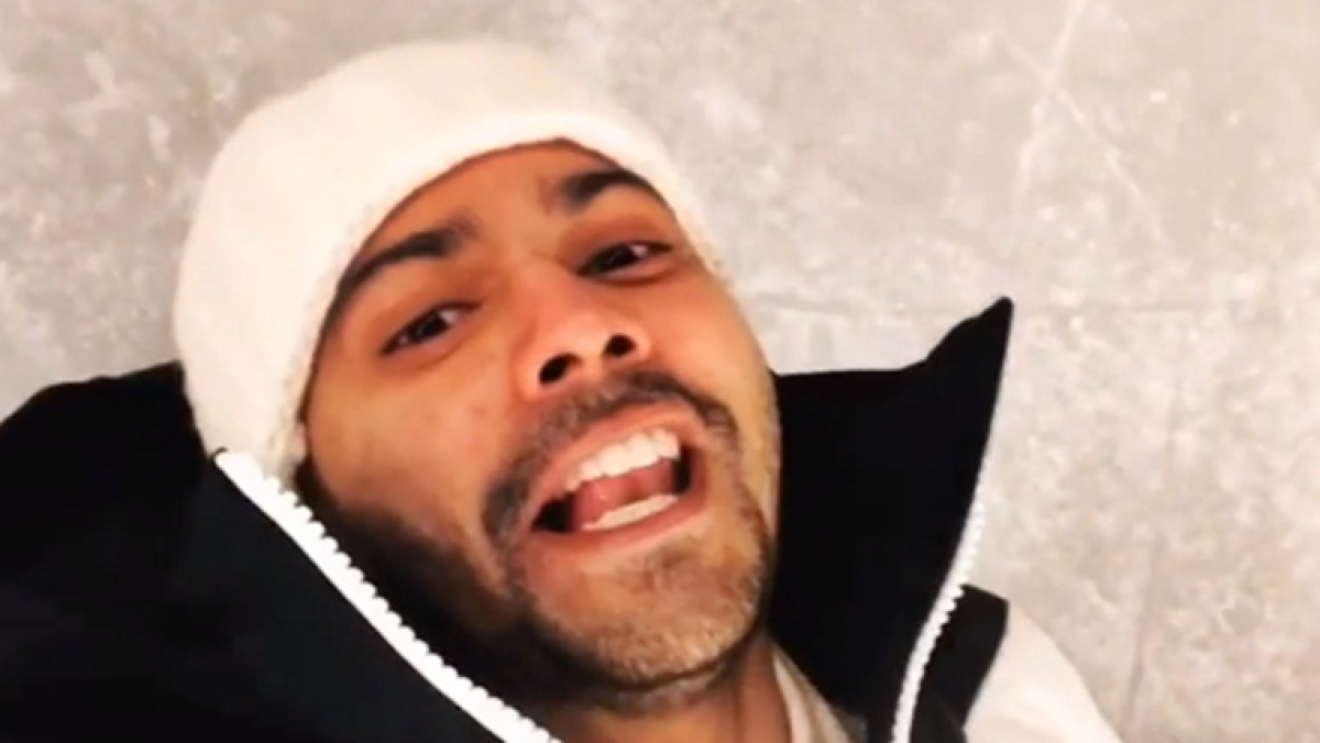 Watch video: Varun Dhawan falls as he tries to rap while ice-skating