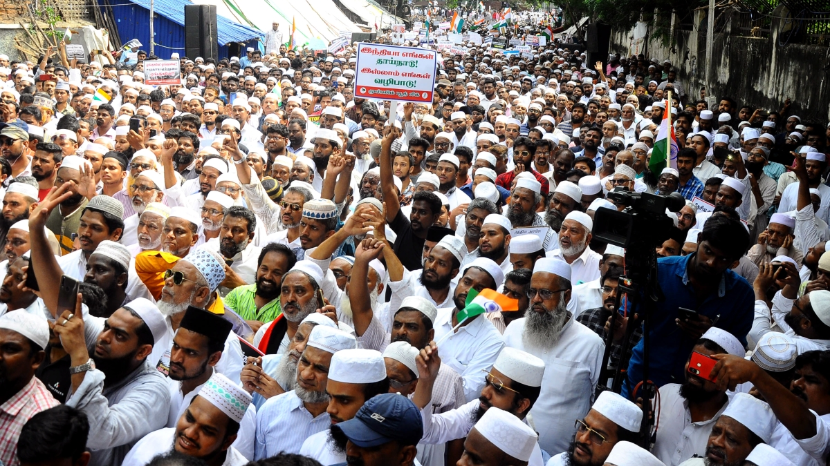 Members of Muslim Community raise slogans as they take part in protest rally against the citizenship amendment act in Chennai.