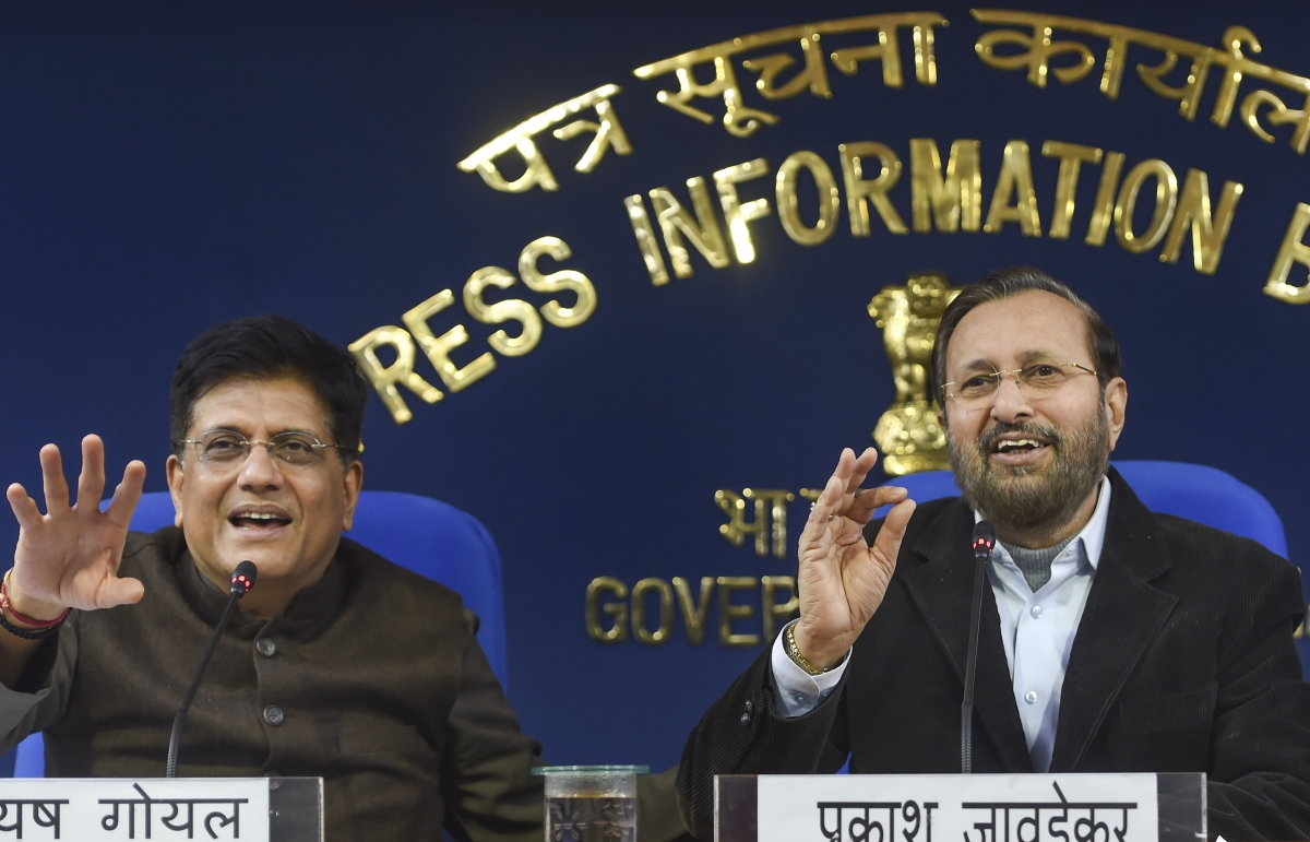 Union Ministers Prakash Javadekar and Piyush Goyal brief the media on cabinet decisions at PIB conference hall, in New Delhi, Tuesday, Dec. 24, 2019.