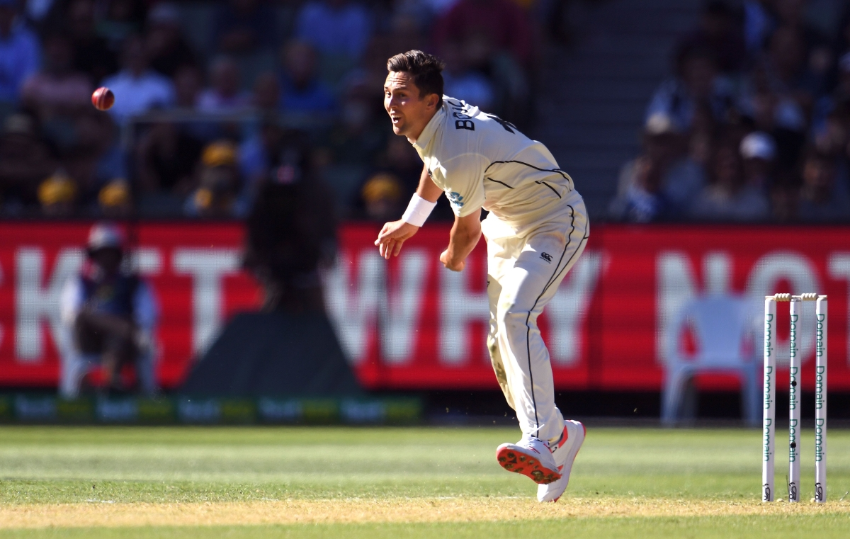 New Zealand bowler Trent Boult sends down a delivery to the Australian batsman on the first day of the second cricket Test match at the MCG in Melbourne on December 26, 2019.