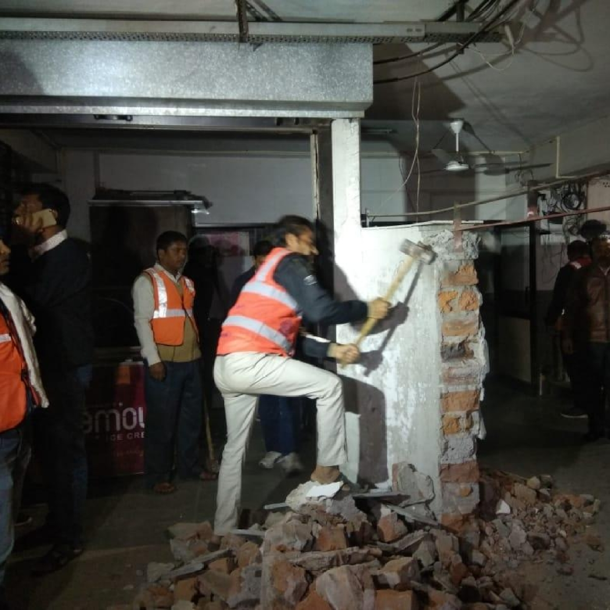 Indore: Illegal structures in basement of three buildings removed