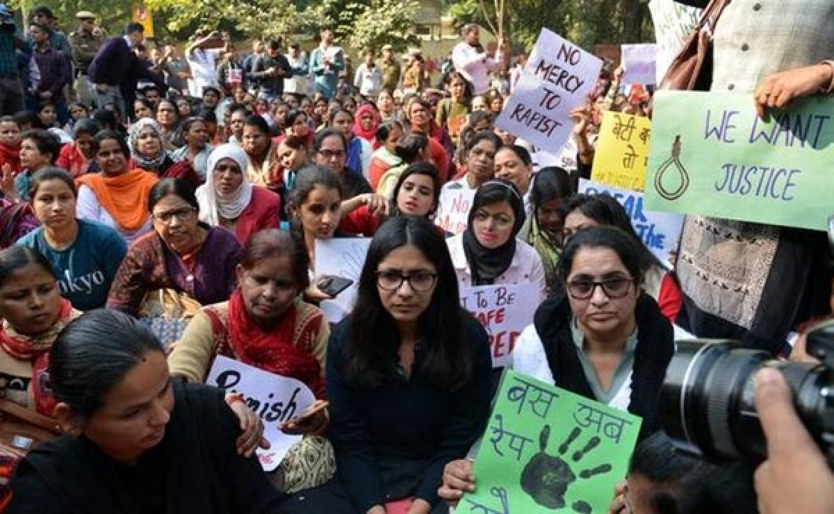 Delhi: DCW members takes out protest march to demand capital punishment for rapists