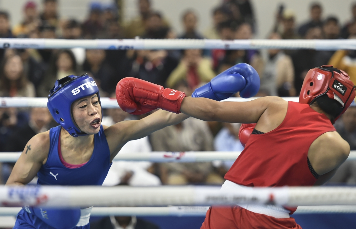 Boxer Mary Kom during her bout against Nikhat Zareen in the 51kg category finals of the women's boxing trials for Olympics 2020 qualifiers, in New Delhi on Saturday.
