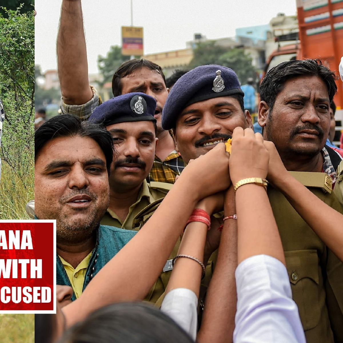 Neighbours of Telangana rape victim celebrate with police after encounter of accused