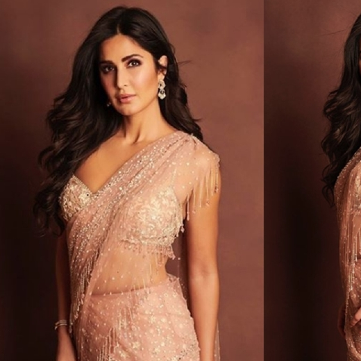 I'm just sexy for you: Katrina Kaif shines in a royal peach sequined saree