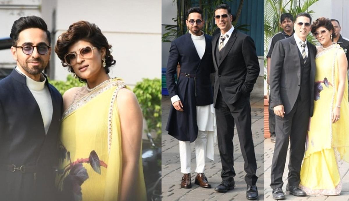In pics: Akshay Kumar, Ayushmann Khurana and wife Tahira Kashyap arrive in Mumbai after 66th National Awards