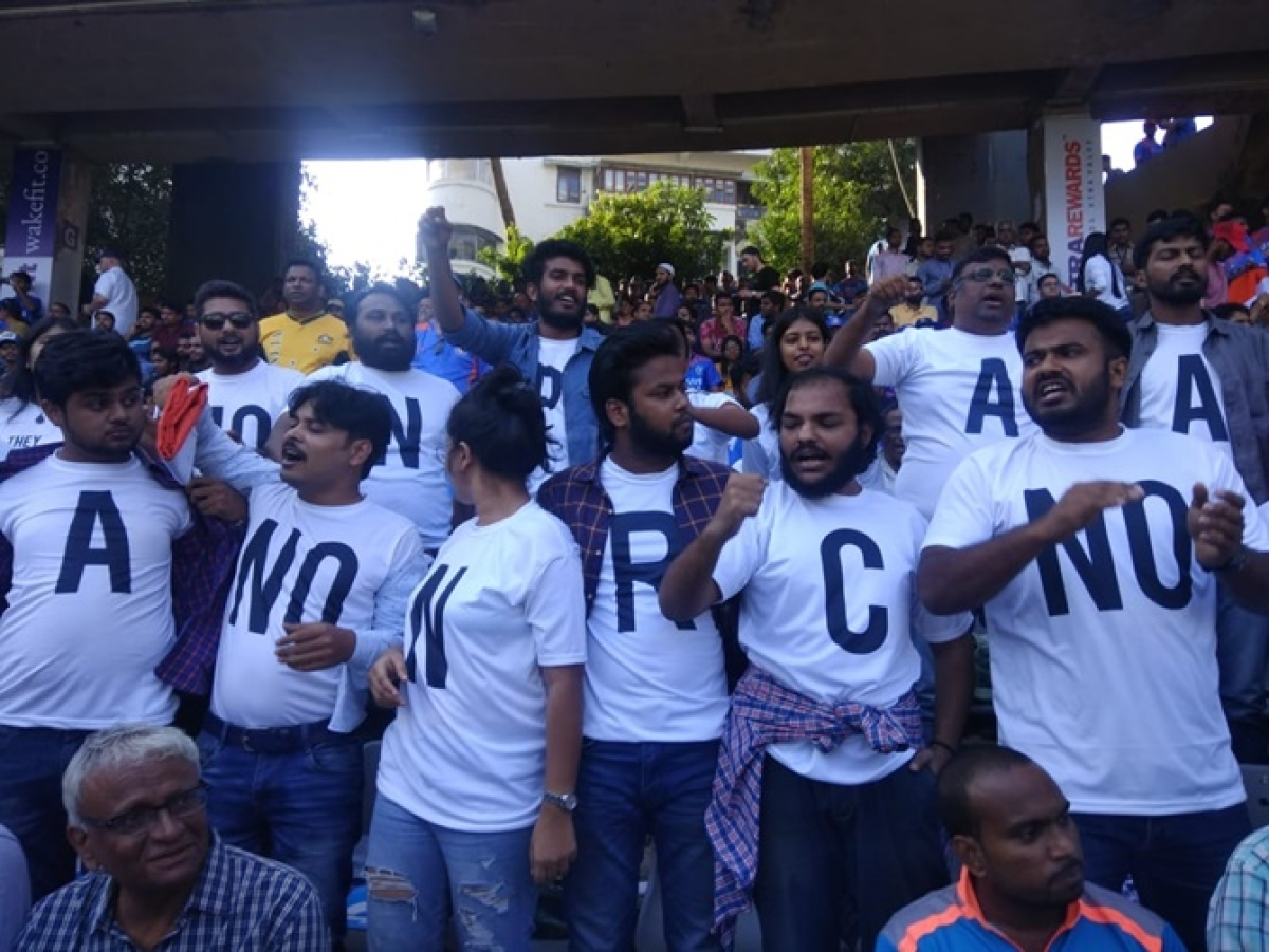 IND vs AUS 1st ODI: Fans protest against CAA at Wankhede Stadium in Mumbai