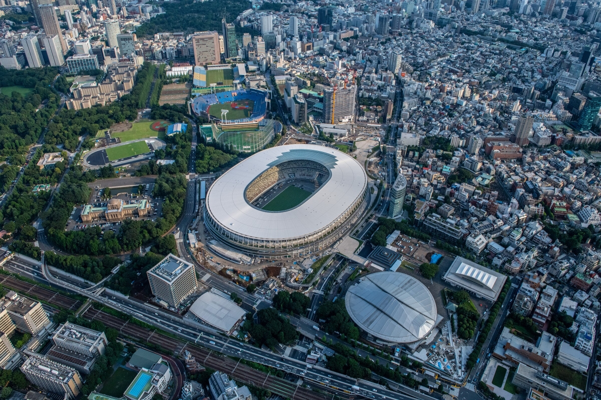 The New National Stadium, the main stadium for the Tokyo 2020 Olympics, and the Tokyo Metropolitan Gymnasium (bottom right)