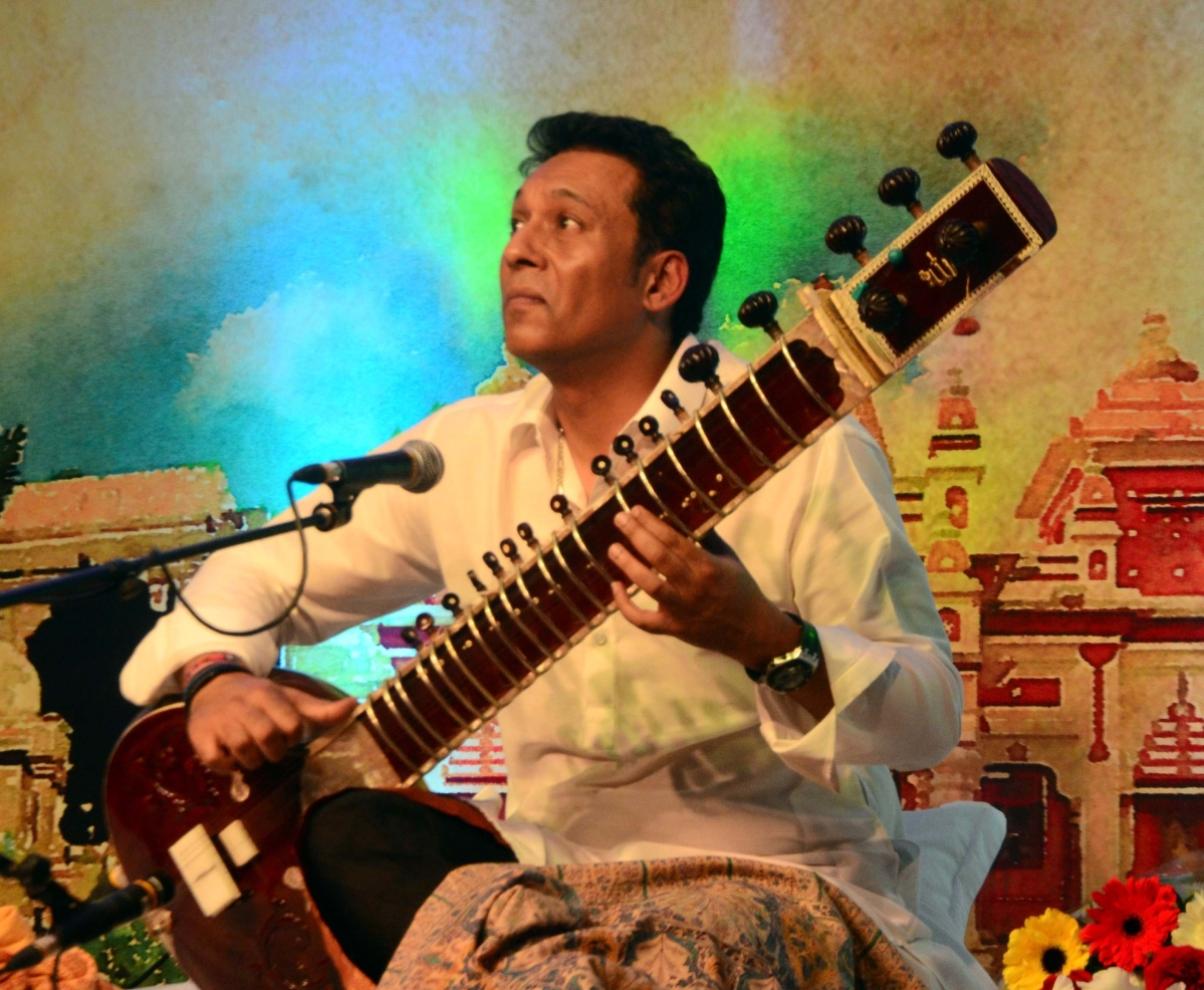 Sitarist Hidayat Khan – the youngest son of the legendary Ustad Vilayat Khan performs in san event 'Hriday Drishyam' at Minto Hall in the city on Saturday.