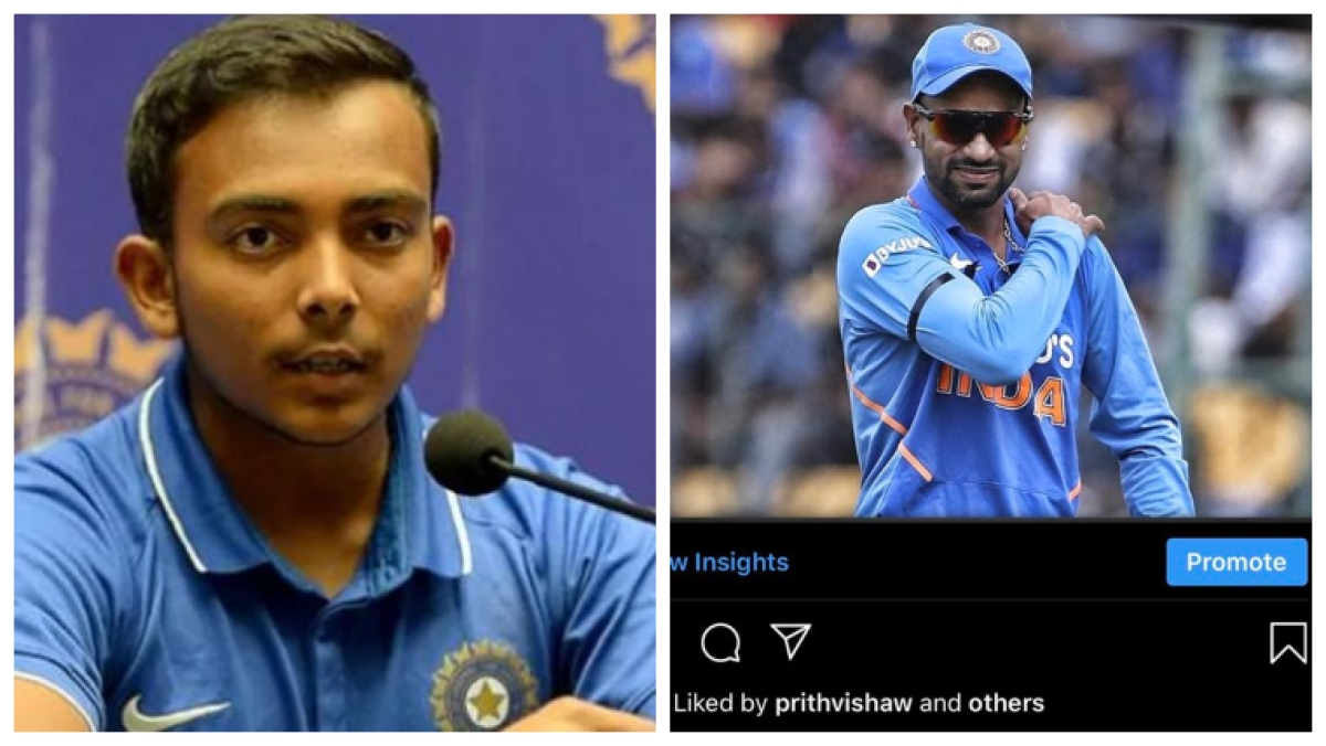 Caught in the act: Prithvi Shaw hearts Instagram picture of Shikhar Dhawan being ruled out after injury