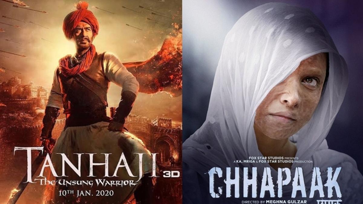 Tanhaji vs Chhapaak: Ajay Devgn's film inches closer towards Rs 150-crore mark, while Deepika's movie earning dips