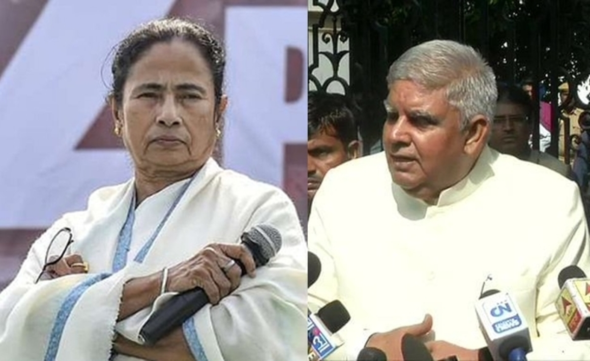 (L) West Bengal CM Mamata Banerjee, (R) West bengal Governor Jagdeep Dhankhar