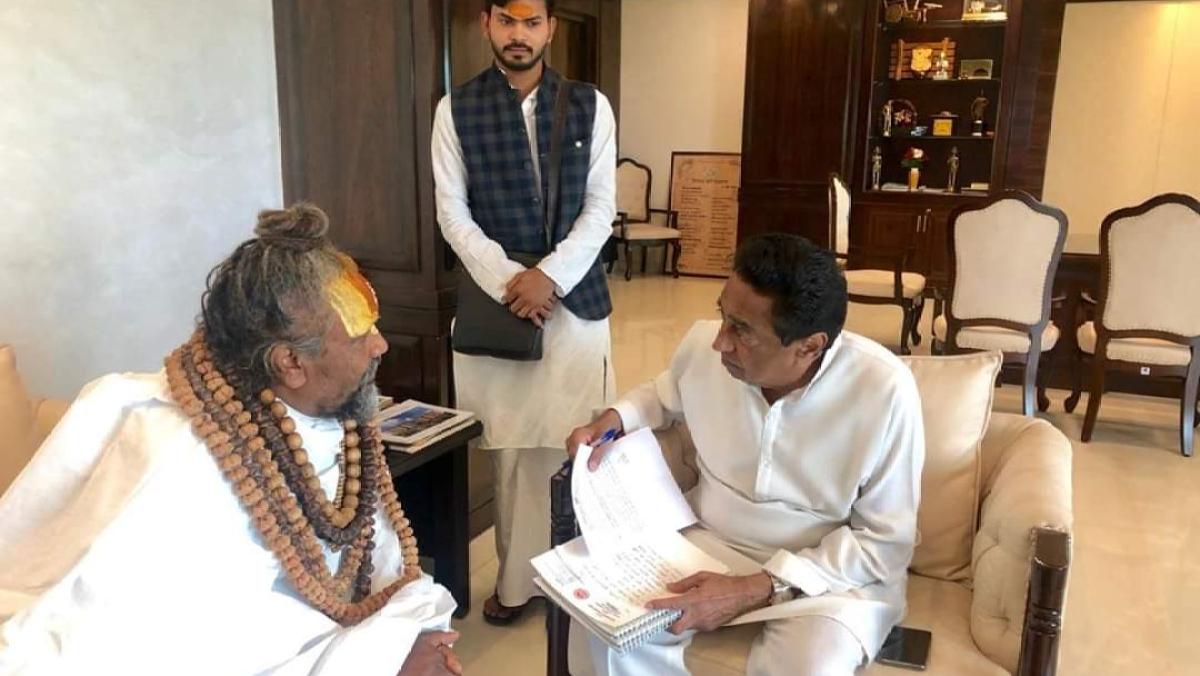 Computer Baba meet CM Kamal Nath in Bhopal. File Photo