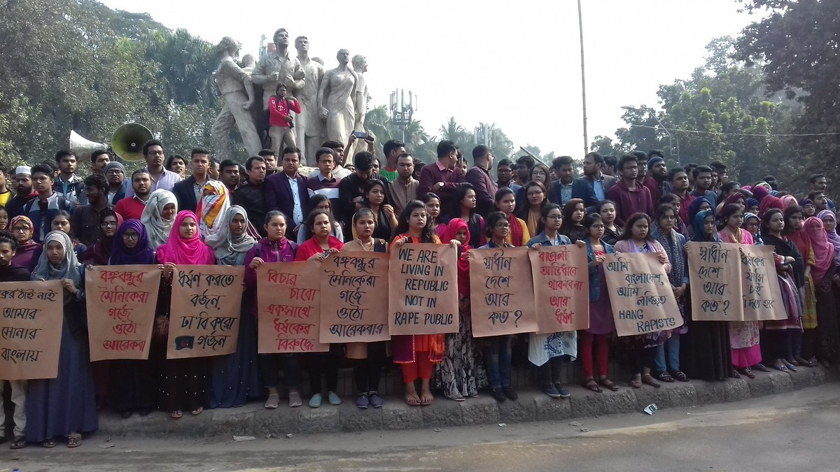 Over 1,000 protest against student's  rape in Bangladesh