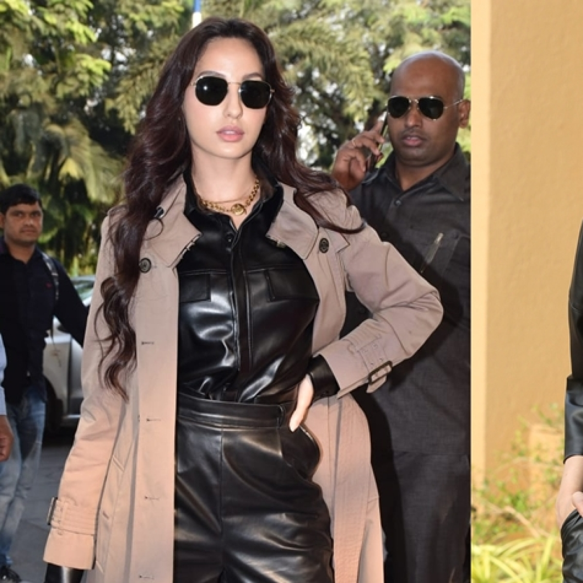 Nora Fatehi copies Deepika Padukone's all-leather outfit but hides it beneath Rs 1.4 lakh trench coat