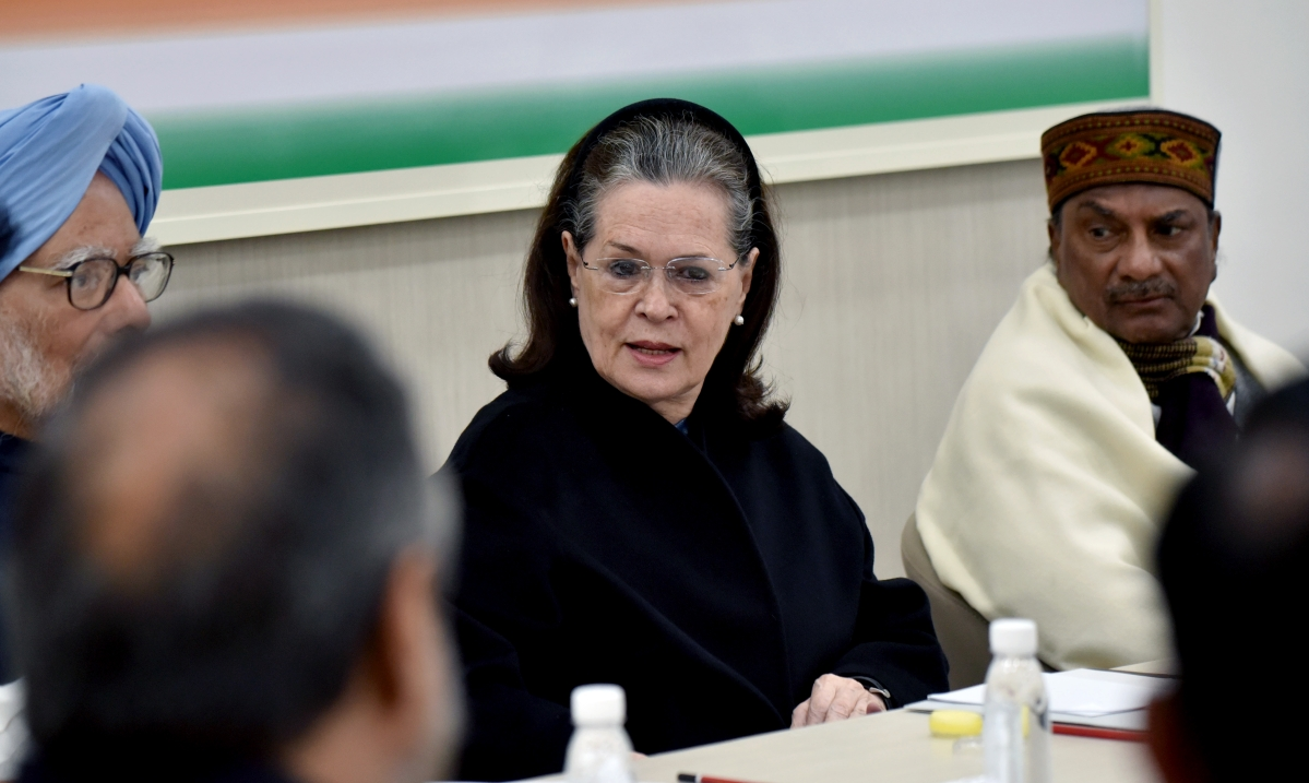 Congress Interim President Sonia Gandhi along with former Prime Minister Manmohan Singh, senior Congress leader AK Antony during Congress Working Committee(CWC) meeting at AICC HQ in New Delhi on Saturday.