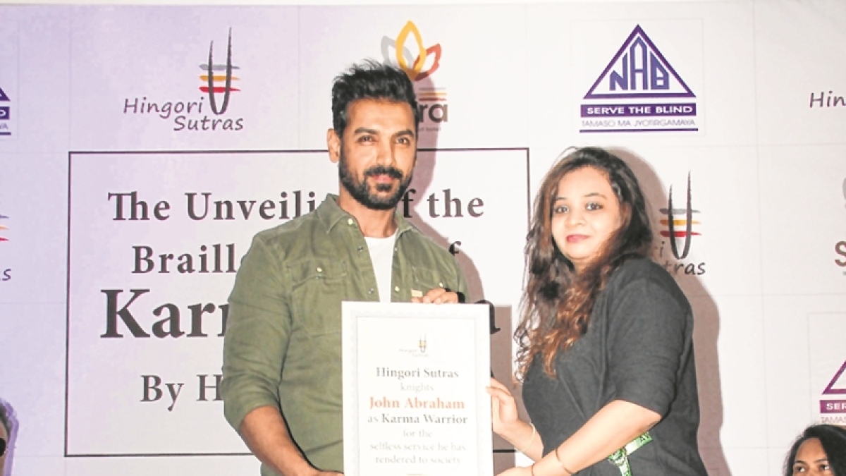 Book Launch: John Abraham unveils Braille book on karma