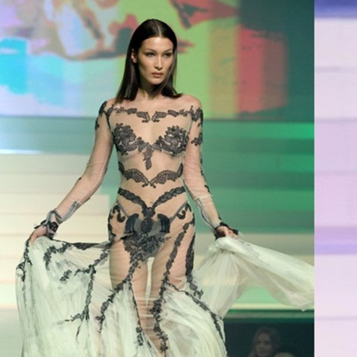 Gigi and Bella Hadid's sheer runway couture leaves little to the imagination
