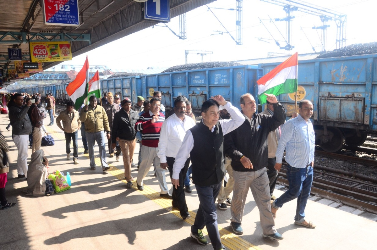 Railway employees take out rally from different platforms.