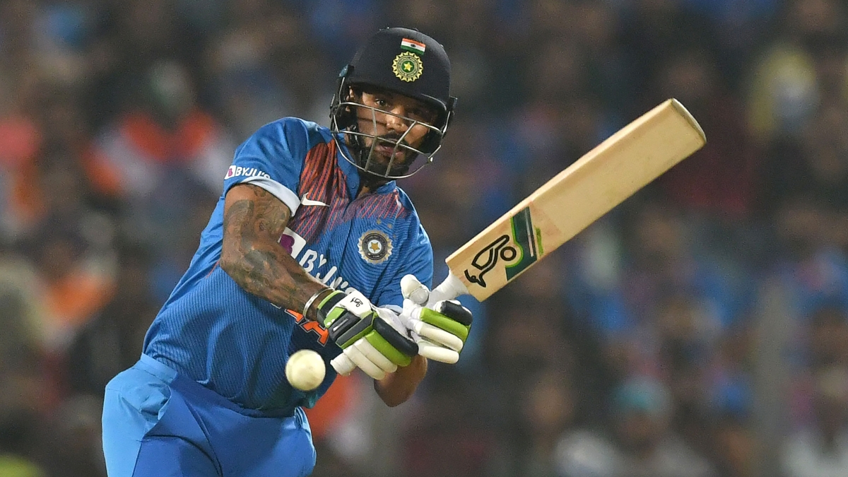 India's Shikhar Dhawan plays a shot during the third T20 cricket match between India and Sri Lanka at the Maharashtra Cricket Association stadium in Pune.