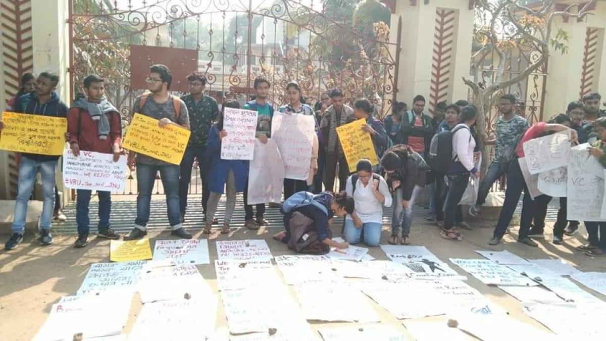 Students of Visva Bharati University.