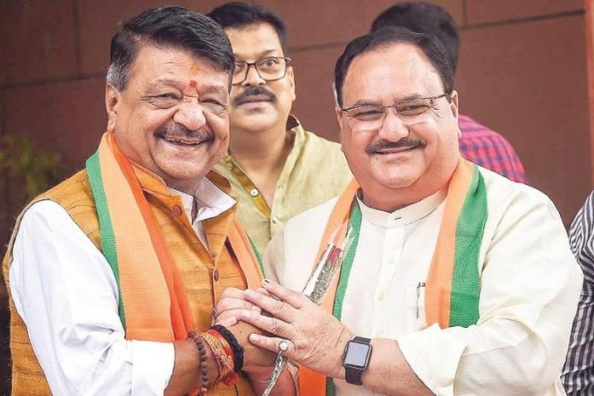 BJP general secretary Kailash Vijayvargiya with party president JP Nadda