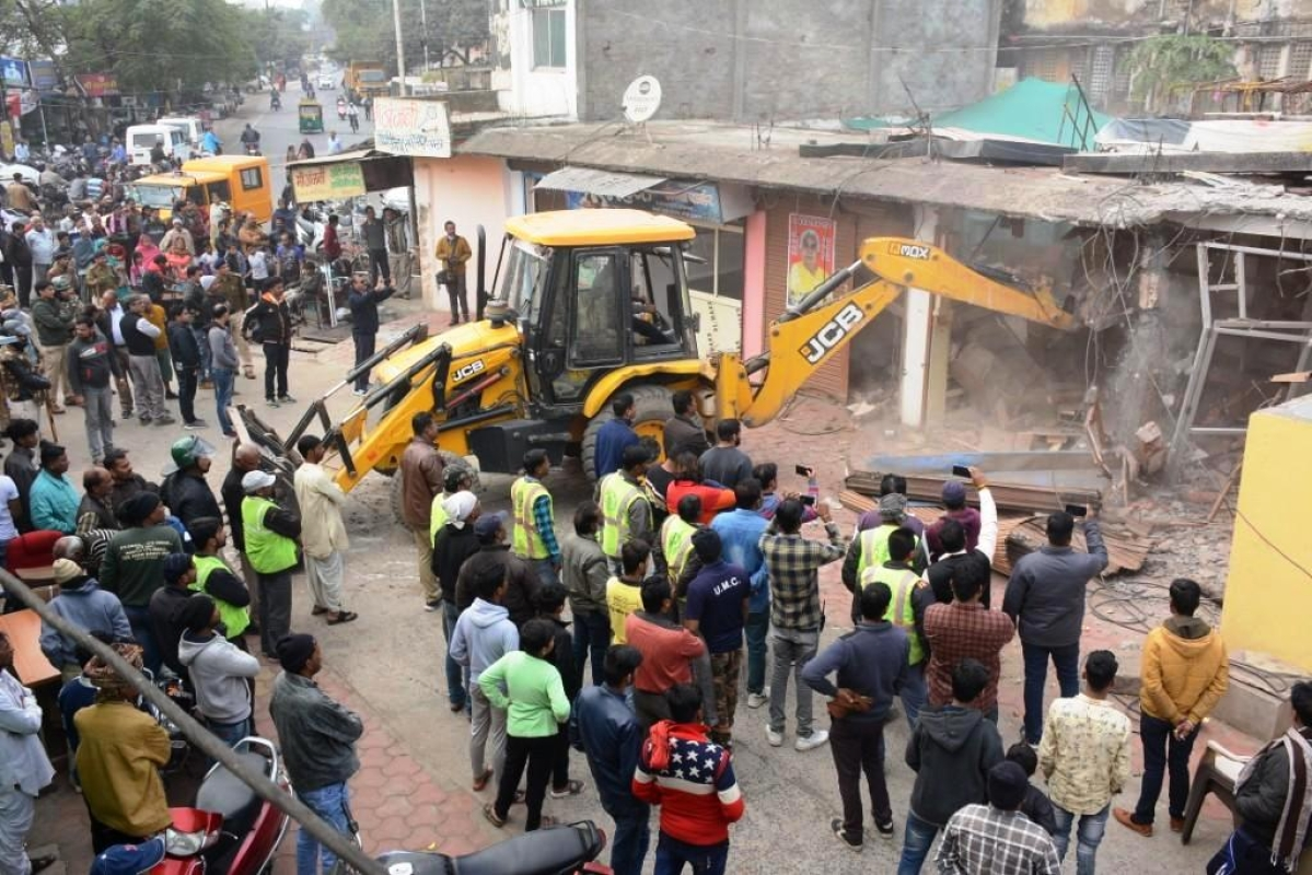 Illegal encroachments being removed.
