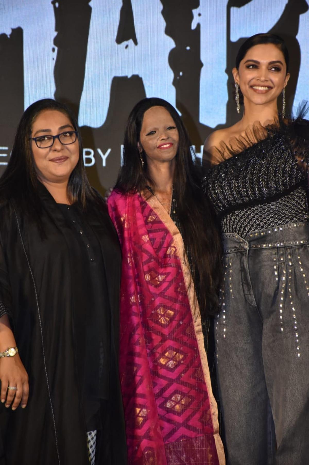 Deepika Padukone, Laxmi Agarwal and Meghna Gulzar at the song launch