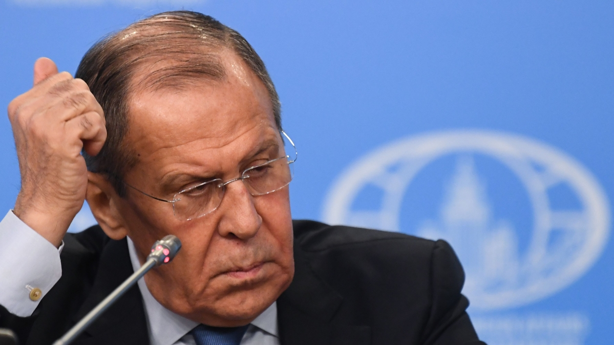 Acting Russian Foreign Minister Sergei Lavrov gives a press conference to take stock of Russian diplomatic year 2019 in Moscow.