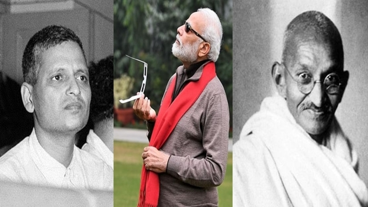 How Gandhi's killer, Nathuram Godse is more alive than the Mahatma himself today in India  In picture: Nathuram Godse(Left), Narendra Modi(Center) and Mahatma Gandhi(Right)