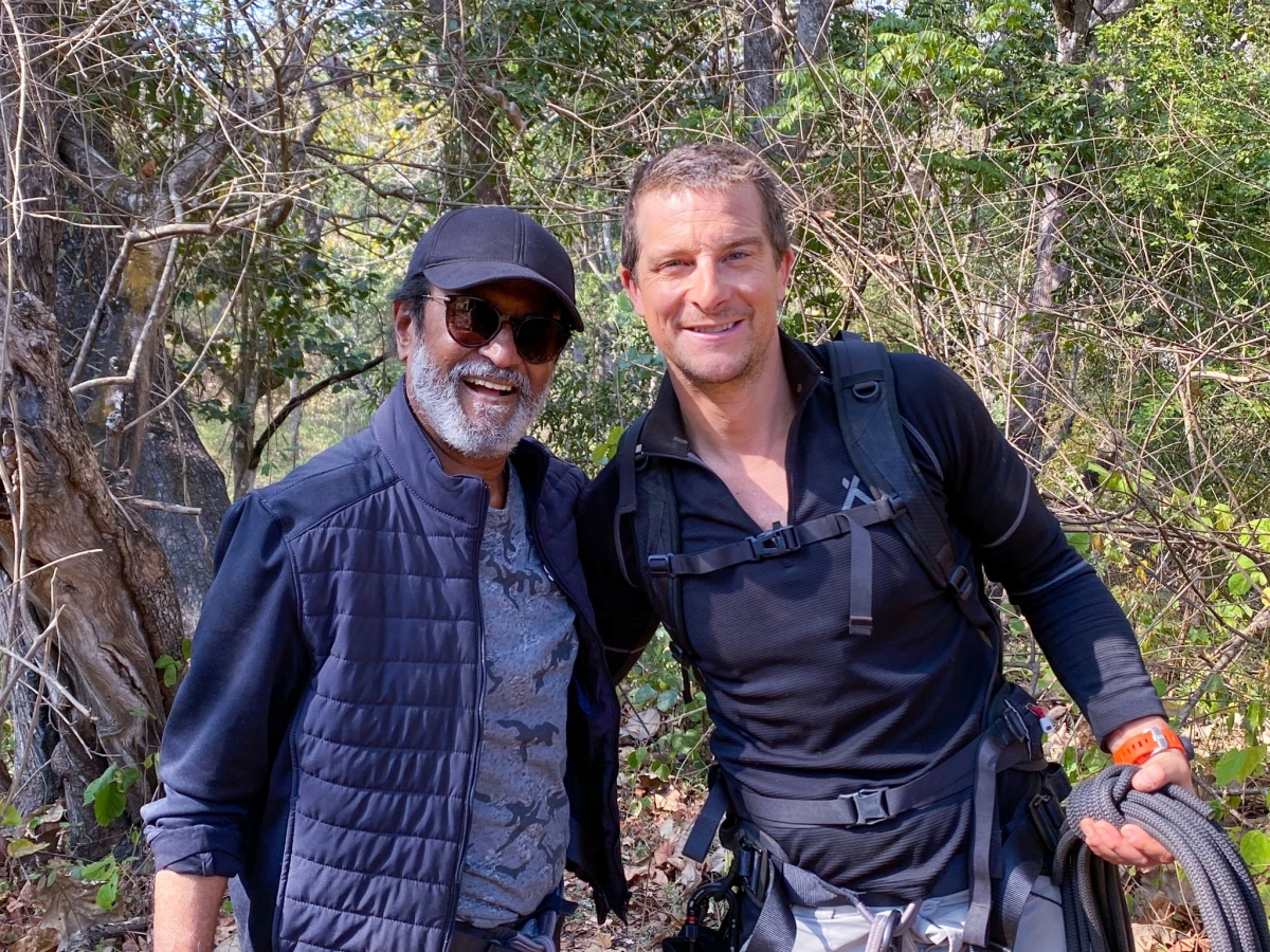 Rajinikanth sports a cool look in picture shared by Bear Grylls