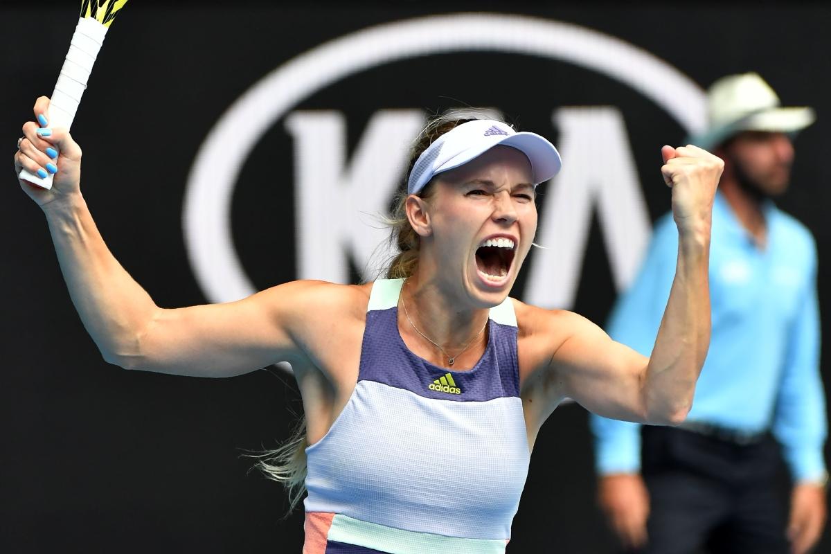 Denmark's Caroline Wozniacki celebrates victory against Ukraine's Dayana Yastremska during their women's singles match on day three of the Australian Open tennis tournament in Melbourne on Wednesday.
