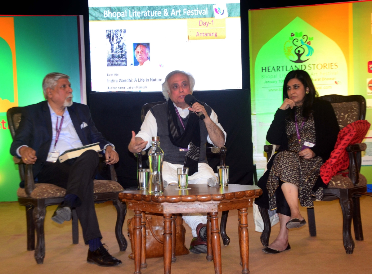 """Former union minister and Congress leader Jairam Ramesh speaks  on 'Indian environment and the role of Indira Gandhi""""-- in conversation with senior journalist Abhilash Khandekar and writer and environmentalist Bharti Chaturvedi --on the inaugural-day of the second edition of three-day 'Bhopal Literature and Art Festival (BLF) 2020' at Bharat Bhawan on Friday."""
