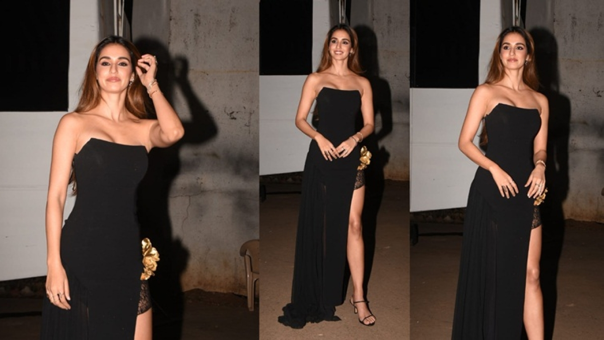 Disha Patani's sexy black dress with  thigh-high slit is perfect for a dinner date