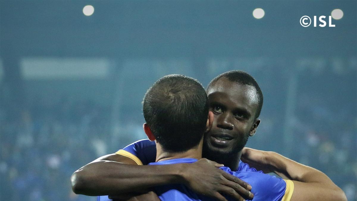 Modou Sogou (left) and Amine Chermiti scored a goal each in homeside's 2-0 win over Bengaluru FC.
