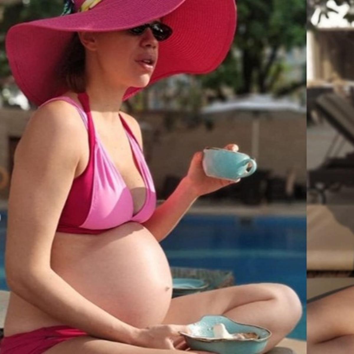 Kalki Koechlin blushes as she flaunts her baby bump in a pink bikini