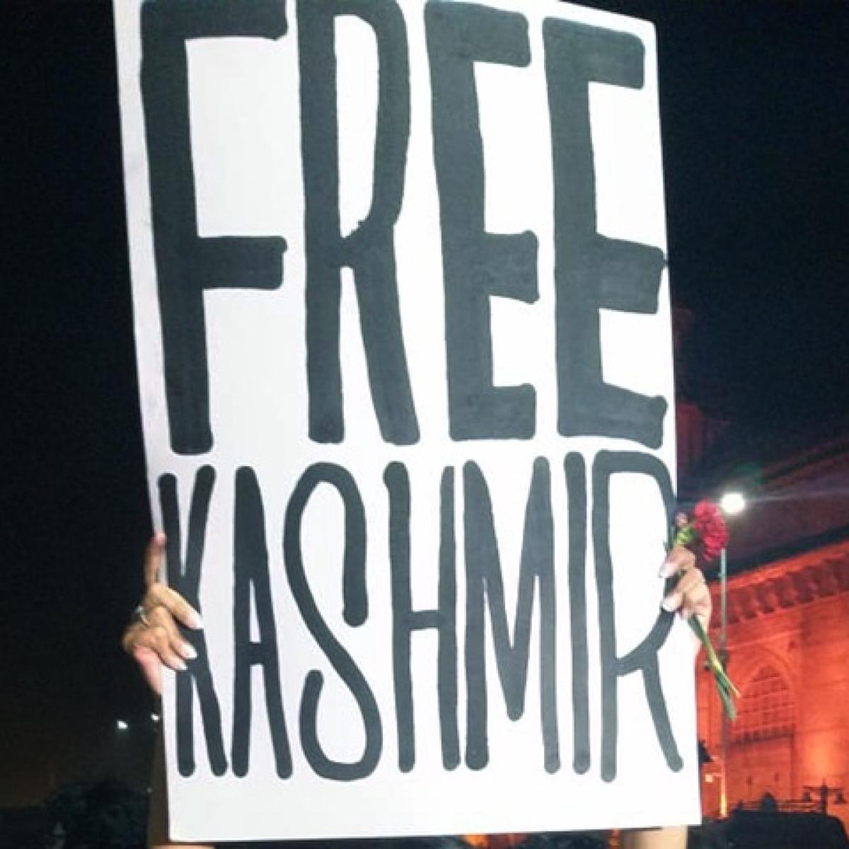 'Free Kashmir' poster seen at Mysore University protest against JNU violence, complaint filed