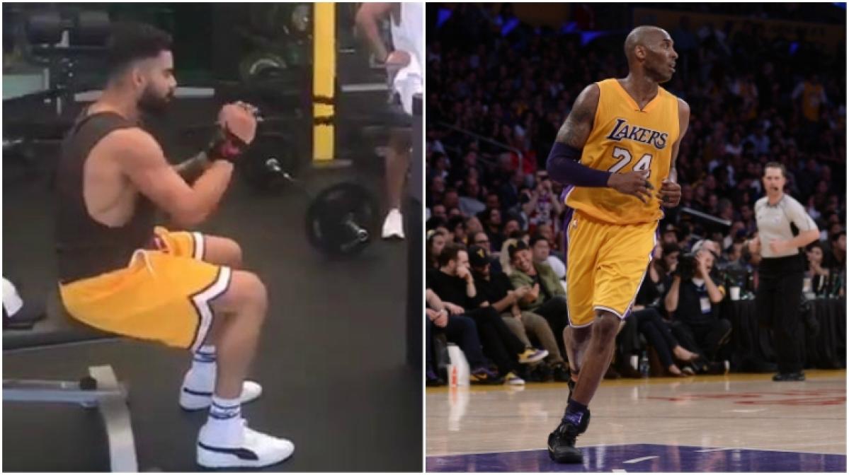 Virat Kohli hits the gym in LA Lakers' shorts as a tribute to Kobe Bryant