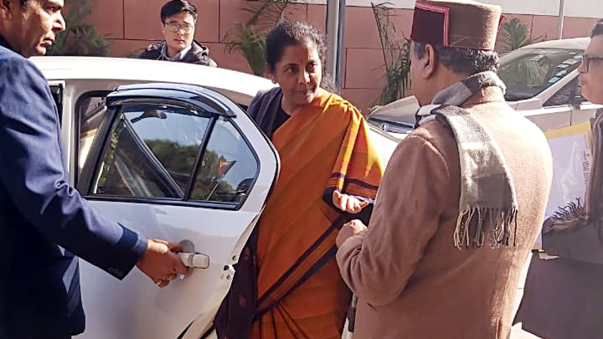 Finance Minister Nirmala Sitharaman leaves from BJP office after meeting party office bearers, spokespersons, Morchas and other party organizations, on union budget consultations, in New Delhi on Thursday.