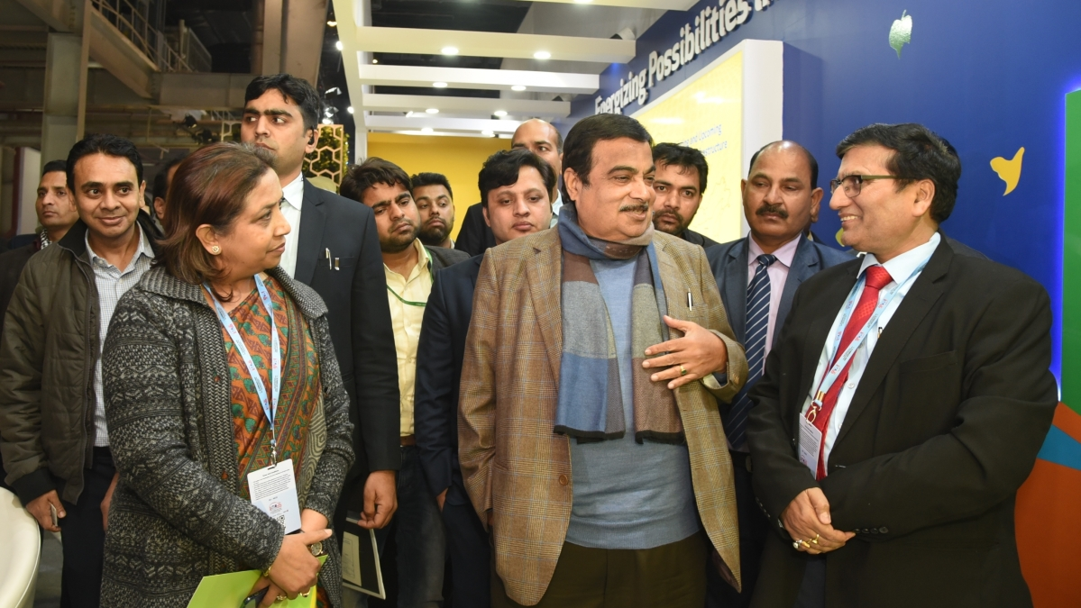 Union Minister Nitin Gadkari visits GAIL's exhibition stall at Auto Expo 2020