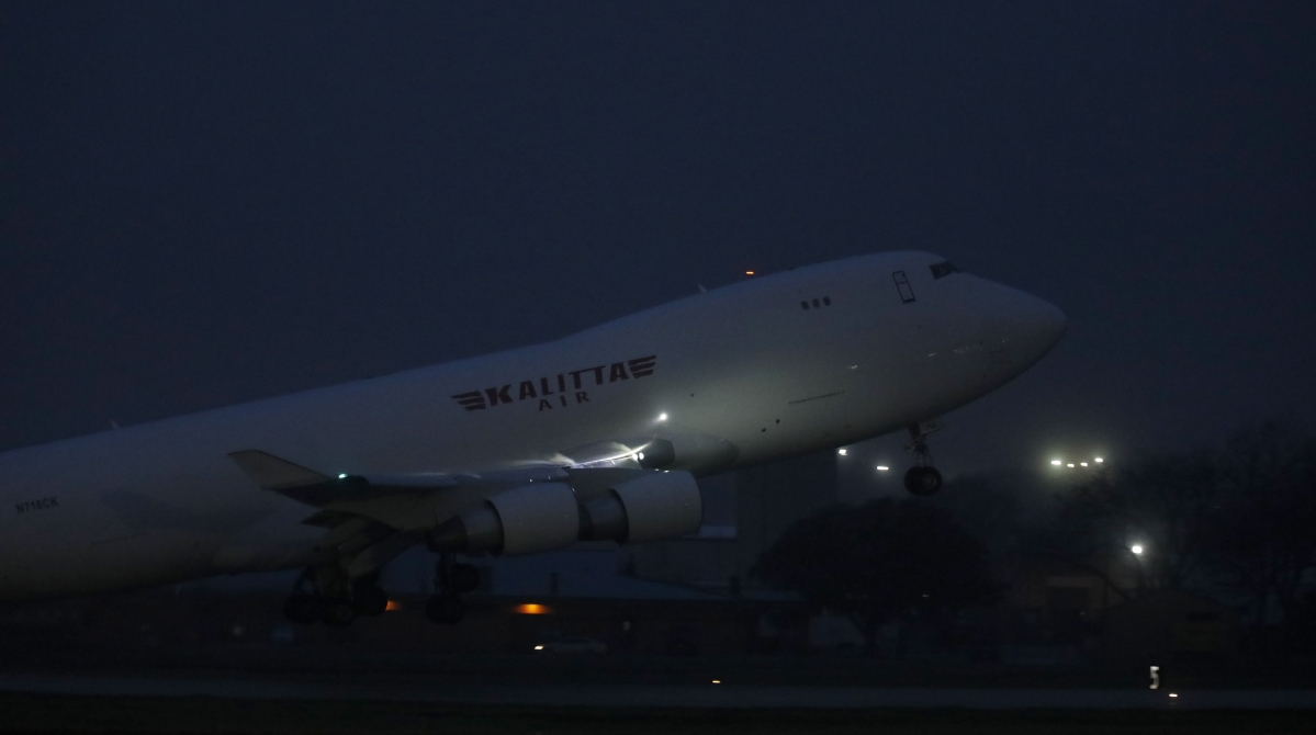 The Kalitta Air flight that transported American evacuees from the Diamond Princess cruise ship leaves Joint Base San Antonio-Lackland on February 17, 2020 in San Antonio, Texas. The Diamond Princess cruise ship is docked at the Japanese city of Yokohama and is believed to be the highest concentration of novel coronavirus cases outside of China, where the outbreak began.