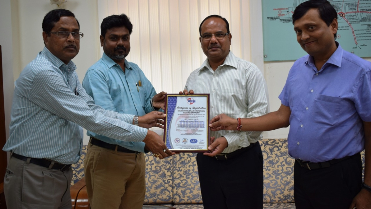 Five more stations of SWR's Hubballi Division awarded ISO 14001- 2015 certification
