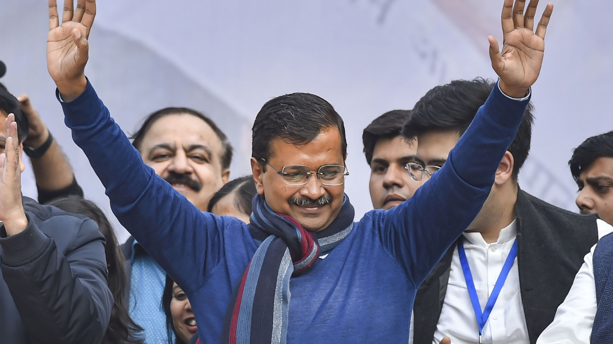New Delhi: Delhi CM and AAP convenor Arvind Kejriwal addreses supporters after party's victory in the State Assembly polls, at AAP office in New Delhi, Tuesday, Feb. 11, 2020.