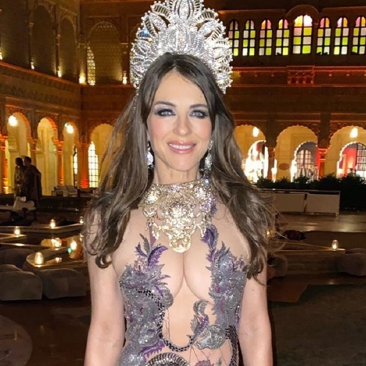 'That's proper naughty': Elizabeth Hurley raises desi brows with sheer dress in Rajasthan