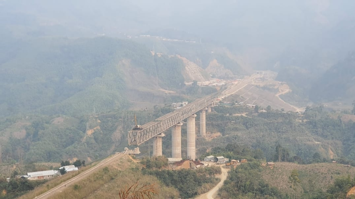 First ever over 100 metre tall pier bridge constructed by N F Rly in Manipur