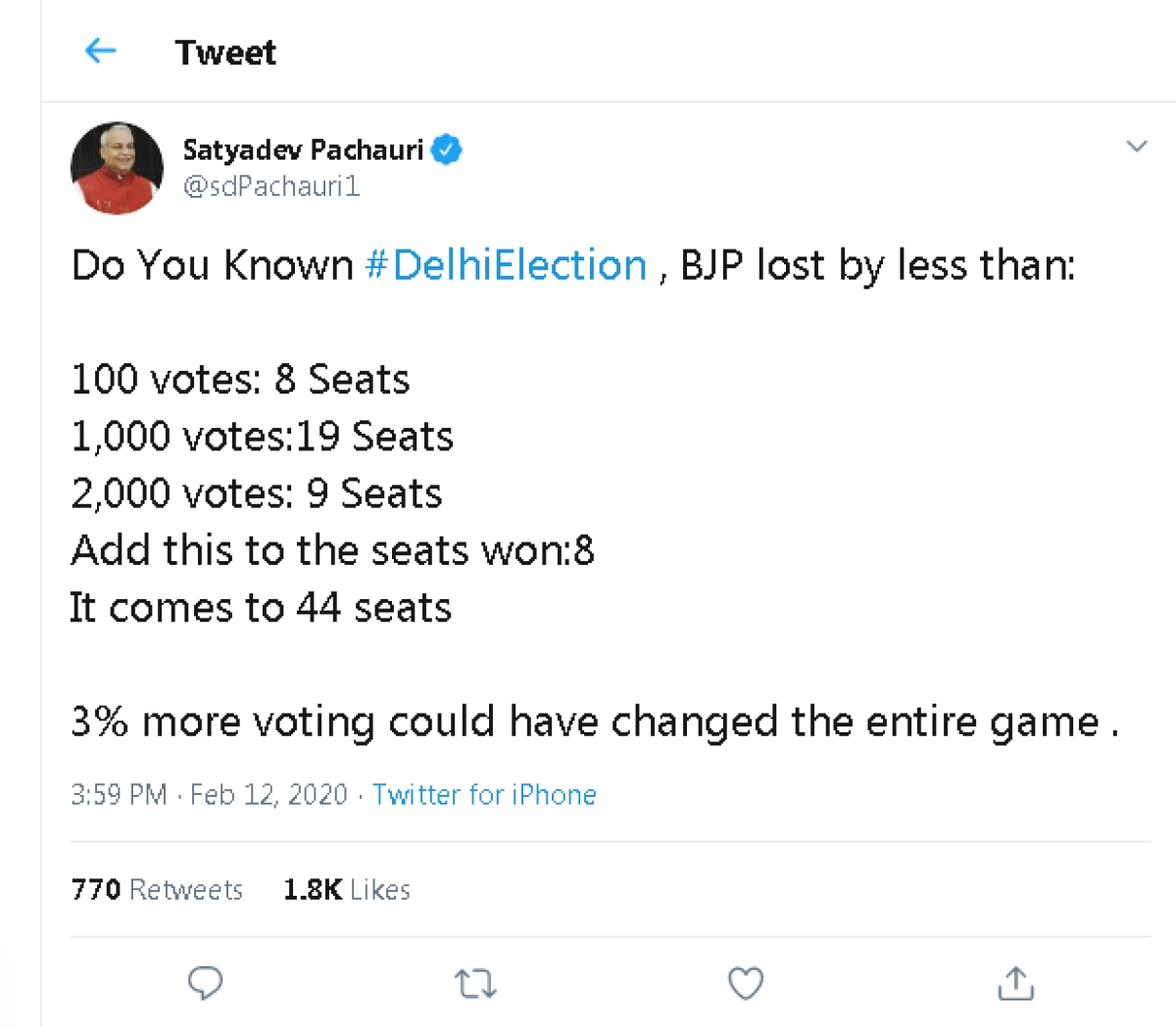 BJP MP Satyadev Pachauri falls for WhatsApp forward; says party lost 8 seats by 100 votes in Delhi polls